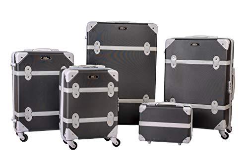 Enrico Coveri Moving Set Quattro Trolley + Beauty Case da Viaggio, Valigie Rigide ABS in Cinque Dimensioni (Nero)