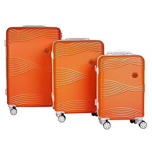 Enrico Coveri Moving Set Tre Trolley Fluo da Viaggio, Valigie Rigide in 3 Dimensioni Con Struttura ABS Antigraffio e Antiurto (Arancio Fluo)