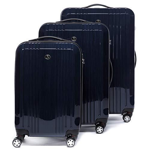 FERGÉ set di 3 valigie viaggio CANNES - bagaglio rigido dure leggera 3 pezzi valigetta 4 ruote blu