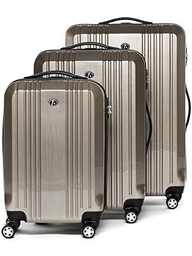 FERGÉ set di 3 valigie viaggio CANNES - bagaglio rigido dure leggera 3 pezzi valigetta 4 ruote beige