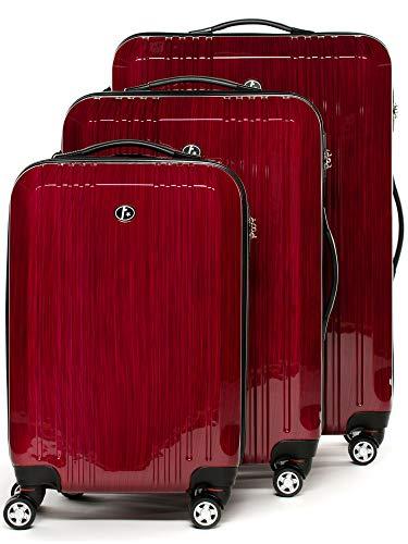 FERGÉ set di 3 valigie viaggio CANNES - bagaglio rigido dure leggera 3 pezzi valigetta 4 ruote rosso