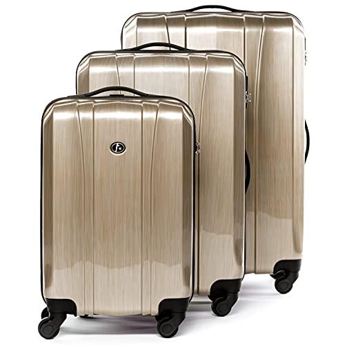 FERGÉ set di 3 valigie viaggio Dijon - bagaglio rigido dure leggera 3 pezzi valigetta 4 ruote marrone
