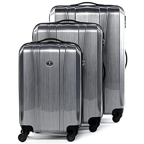 FERGÉ set di 3 valigie viaggio Dijon - bagaglio rigido dure leggera 3 pezzi valigetta 4 ruote grigio