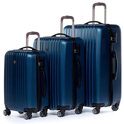 FERGÉ Set di 3 valigie viaggio espandibile TOULOUSE - bagaglio rigido dure 3 pezzi valigetta 4 ruote blu