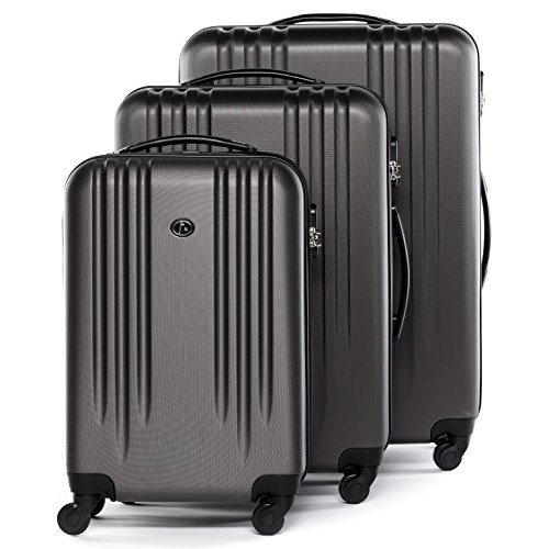 FERGÉ set di 3 valigie viaggio Marseille - bagaglio rigido dure leggera 3 pezzi valigetta 4 ruote grigio