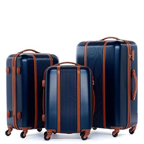 FERGÉ set di 3 valigie viaggio MILANO - bagaglio rigido dure leggera 3 pezzi valigetta 4 ruote blu
