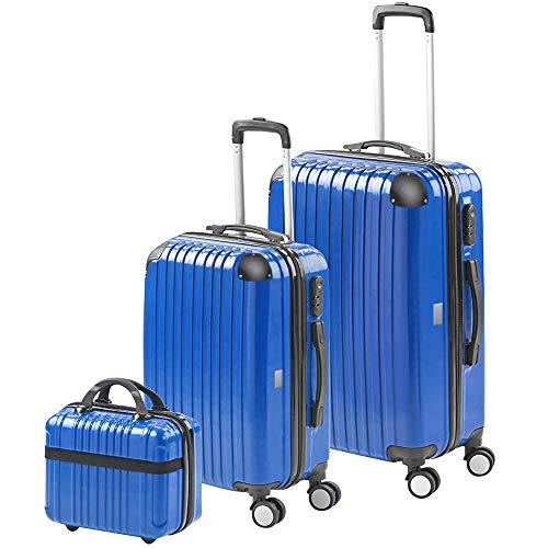 Gridinlux | Valigie set 3 pezzi | Trolley | Rigide | Valigia grande, Borsa da toilette piccola | 4 ruote | Comodo e leggero | Blu