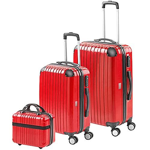 Gridinlux | Valigie set 3 pezzi | Trolley | Rigide | Valigia grande, Borsa da toilette piccola | 4 ruote | Comodo e leggero | Rosso