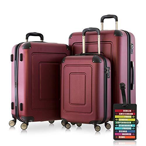 Happy Trolley - Lugano Set di 3 Valigie Trolley rigido TSA 4 ruote ABS, (S, M, L) Burgundy +etichetta del bagaglio
