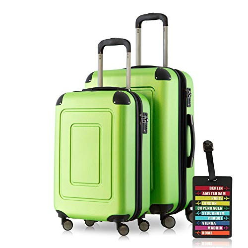 Happy Trolley Lugano Set di valigie, 66 cm, 78 liters, Verde (Apfelgrün)