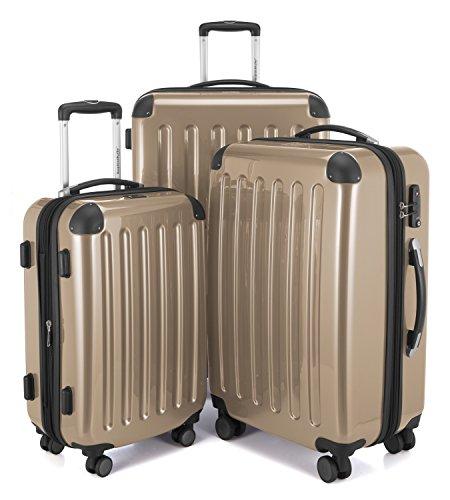 HAUPTSTADTKOFFER - Alex - Set di 3 valigie, TSA, Nero brillante, (S, M & L), 235 litri, Colore Champagne