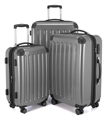 HAUPTSTADTKOFFER - Alex - Set di 3 valigie, TSA, Nero brillante, (S, M & L), 235 litri, Colore Argento
