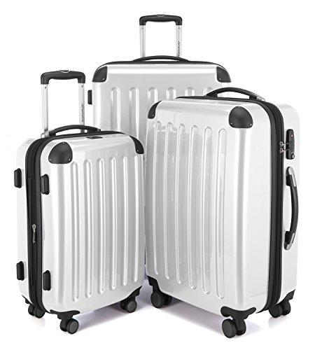 HAUPTSTADTKOFFER - Alex - Set di 3 valigie, TSA, Nero brillante, (S, M & L), 235 litri, Colore Bianco