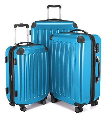 HAUPTSTADTKOFFER - Alex - Set di 3 valigie, TSA, Nero brillante, (S, M & L), 235 litri, Colore Blu ciano