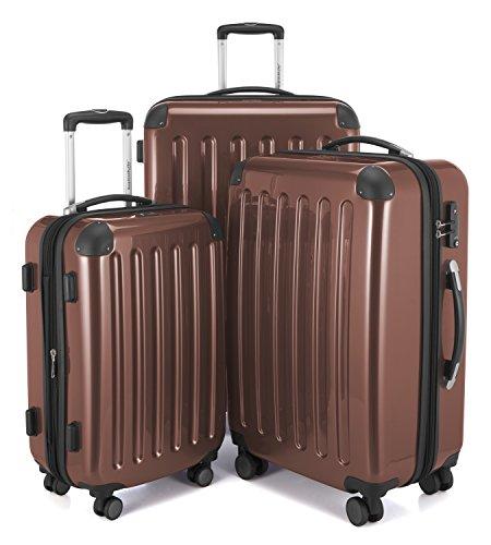 HAUPTSTADTKOFFER - Alex - Set di 3 valigie, TSA, Nero brillante, (S, M & L), 235 litri, Colore Marrone