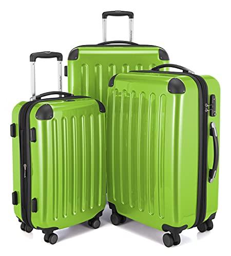 HAUPTSTADTKOFFER - Alex - Set di 3 valigie, TSA, Nero brillante, (S, M & L), 235 litri, Colore Verde mela