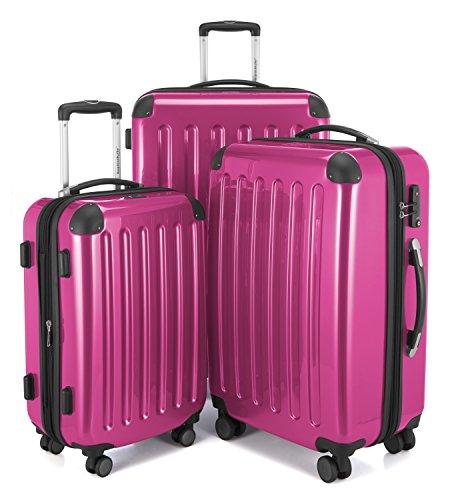 HAUPTSTADTKOFFER - Alex - Set di 3 valigie, TSA, Nero brillante, (S, M & L), 235 litri, Colore Magenta