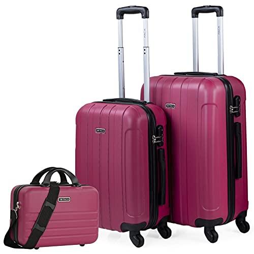 ITACA - Set di 3 valigie rigide 4 ruote Trolley 55/64 cm + Beauty case ABS. Resistente e leggero. Maniglia Maniglie Lucchetto. Piccola Cabina Media e Grande. 771115B, Color Fragola