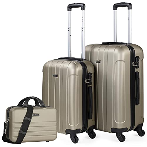 ITACA - Set di 3 valigie rigide 4 ruote Trolley 55/64 cm + Beauty case ABS. Resistente e leggero. Maniglia Maniglie Lucchetto. Piccola Cabina Media e Grande. 771115B, Color Champagne
