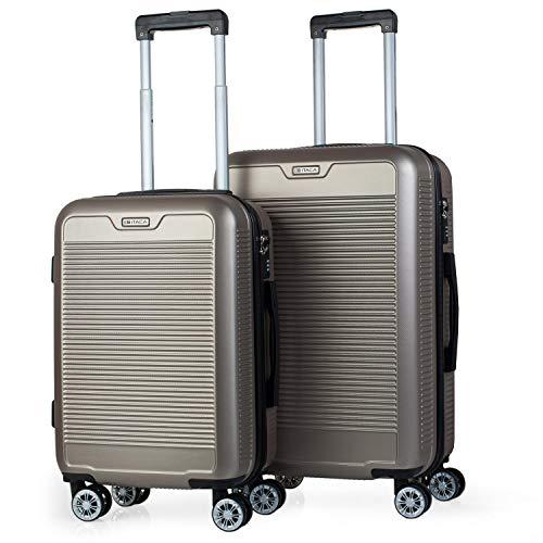 ITACA - Set valigia trolley da viaggio 55/67 cm ABS. Rigido, resistente e leggero. Maniglia, maniglie, 4 ruote. Lucchetto. Valigia di cabina Low Cost Ryanair e Medium. T72015, Color Dorato