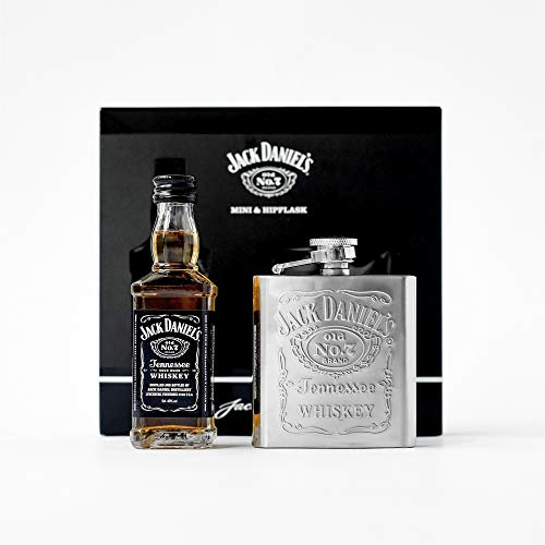 Jack Daniels - 5cl Old No. 7 Miniature & Hip Flask Gift Pack - Whisky