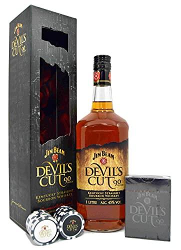 Jim Beam Devil's Cut 45% Vol. 1l in Giftbox with Pokerset