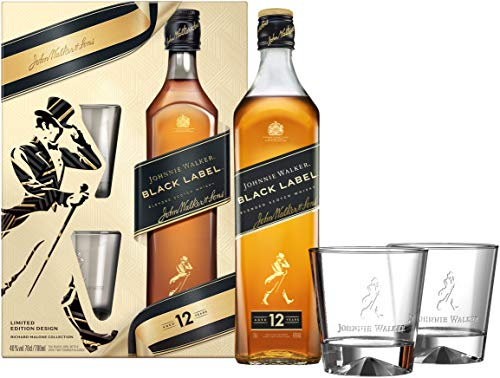 Johnnie Walker BLACK LABEL 12 Years Old Blended Scotch Whisky 40% Vol. 0,7l in Giftbox with 2 glasses