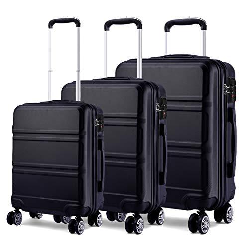 Kono Set di Valigie da 3 Pezzi Valigia Rigida Materiale ABS Leggero e Resistente con 4 Ruote Rotanti Valigia da 20'' 24'' 28'' (Nero)