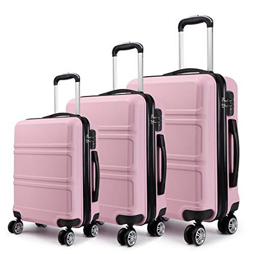 Kono Set di Valigie da 3 Pezzi Valigia Rigida Materiale ABS Leggero e Resistente con 4 Ruote Rotanti Valigia da 20'' 24'' 28'' (Rosa)