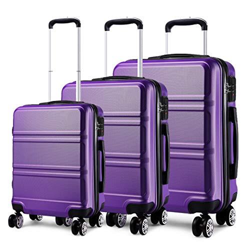Kono Set di Valigie da 3 Pezzi Valigia Rigida Materiale ABS Leggero e Resistente con 4 Ruote Rotanti Valigia da 20'' 24'' 28'' (Viola)