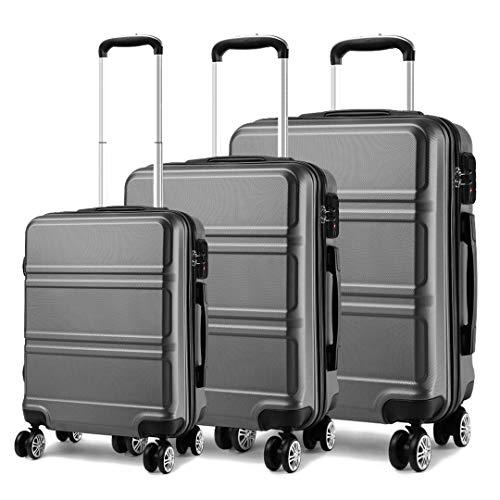 Kono Set di Valigie da 3 Pezzi Valigia Rigida Materiale ABS Leggero e Resistente con 4 Ruote Rotanti Valigia da 20'' 24'' 28'' (Grigio)