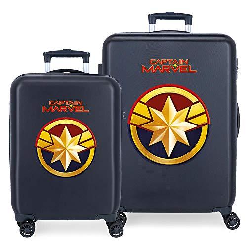 Marvel Avengers All Avengers Set valigie Azzurro 55/68 cms Rigida ABS Chiusura a combinazione numerica 104L 4 doppie ruote Bagaglio a mano
