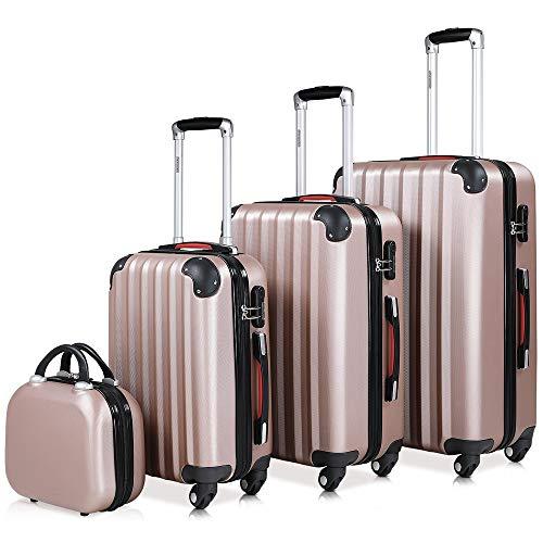Monzana set di 4 valigie rigide beauty case lucchetto trolley duro valigia viaggio bagaglio a mano week-end