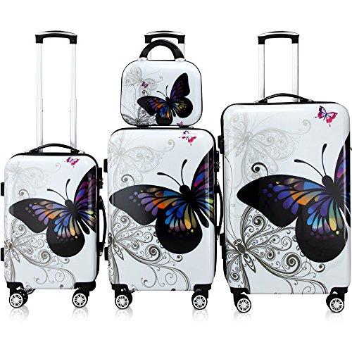 Monzana Set di valigie 4pz con beauty case trolley rigida Butterfly lucchetto rotelle 360° bagaglio a mano valigia M L XL