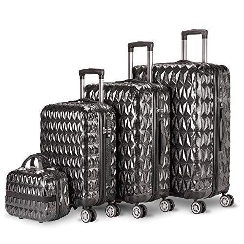 NEWTECK – Set di valigie a 4 ruote Prisma Carbon 3 pezzi (55/65/75 cm) + borsa da toilette. ABS + policarbonato, chiusura TSA integrata e pratica interna. Rigide, resistenti e leggere