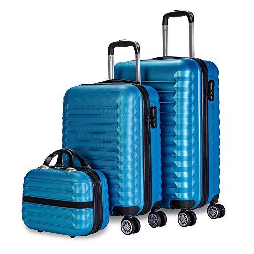 Newtek-Set di 3 valigie e borsa da toilette Blu (53/63 cm) ABS con 4 ruote doppie e lucchetto combinazione laterale