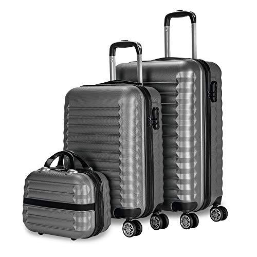 Newtek-Set di 3 valigie e borsa da toilette Grigio (53/63 cm) ABS con 4 ruote doppie e lucchetto combinazione laterale