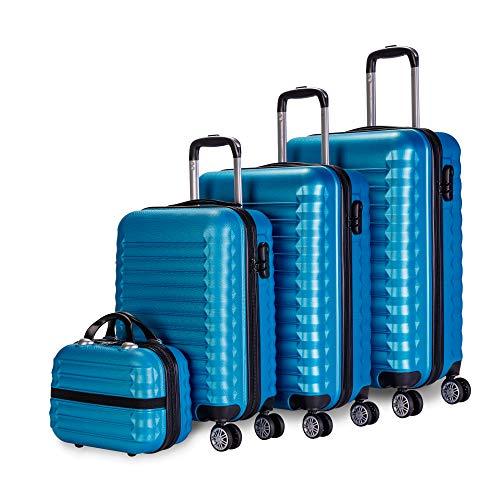 Newtek - Set di valigie 4pzs (53/63/75cm) e borsa da toilette Blu. ABS Resistente, Leggero, Lucchetto con 4 ruote doppie e lucchetto combinazione laterale