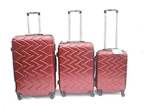 Orlac Tyre Set 3 Trolley valigie rigide in ABS e policarbonato 4 ruote piroettanti colori vari (Rosso scuro)