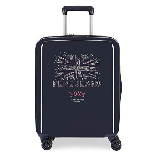 Pepe Jeans Ada Valigia da Cabina, 40 x 55 x 20 cm, Rigida ABS, Chiusura TSA Integrata 38.4 L ,2 kg, 4 Ruote Doppie, Bagaglio a Mano, Nero
