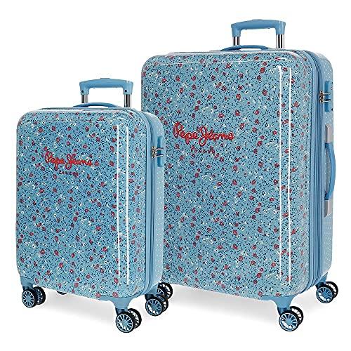 Pepe Jeans Ava Set di Valigie ABS, Chiusura TSA, 104 L, 7.4 kg, 4 Ruote Doppie Bagaglio a Mano, 55/68 cm, Blu