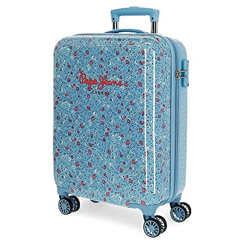 Pepe Jeans Ava Valigia Cabina, ABS Chiusura TSA, 34 L, 2.5 kg, 4 Ruote Doppie, Bagaglio a Mano, 38 x 55 x 20 cm, Blu