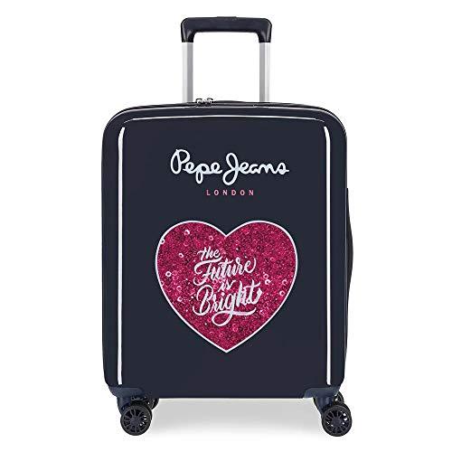 Pepe Jeans Bright Valigia da cabina blu 40 x 55 x 20 cm rigida ABS chiusura TSA integrata 38,4 L 2 kg 4 ruote doppie bagaglio a mano