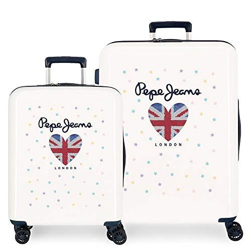 Pepe Jeans Estela - Set di valigie, colore: bianco, 55/70 cm, rigido, ABS, chiusura TSA integrata, 119,4 l, 7,1 kg, 4 ruote doppie, bagaglio a mano
