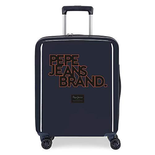 Pepe Jeans Troy Valigia da Cabina 40 x 55 x 20 cm, Rigida ABS, Chiusura TSA Integrata, 38.4 L, 2 kg, 4 Ruote Doppie, Bagaglio a Mano, Blu