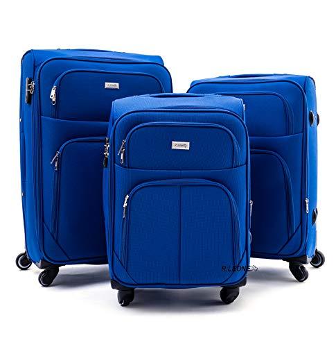 R.Leone Valigia da 1 pezzo Fino a Set 3 Trolley Espandibile grande, medio e bagaglio a mano 4 ruote in stoffa (Blu elettrico, Set 3 S M L)