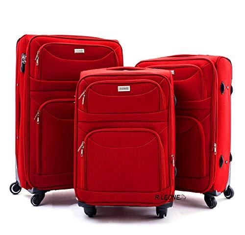 R.Leone Valigia da 1 pezzo Fino a Set 3 Trolley Espandibile grande, medio e bagaglio a mano 4 ruote in stoffa (Rosso, Set 3 S M L)