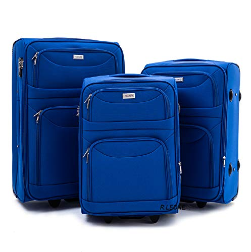 R.Leone Valigia da 1 Pezzo Fino a Set 3 Trolley Espandibile grande, medio e bagaglio a mano 2 ruote in stoffa 6802 (Azzurro, Set 3 pezzi S M L)