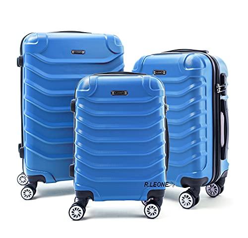 R.Leone Valigia Set 3 Trolley Rigido grande, medio e bagaglio a mano 8 ruote in ABS 2026 (Azzurro scuro, Set 3 S M L)