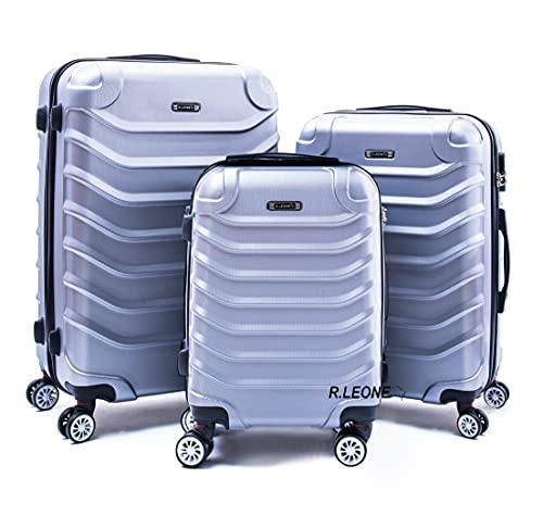 R.Leone Valigia Set 3 Trolley Rigido grande, medio e bagaglio a mano 8 ruote in ABS 2026 (Argento, Set 3 S M L)